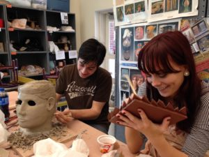 Clay Sculpting Cecil College april-2015